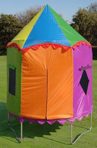 Circus Trampoline Tent by Cutiebeauty az. $104.99. The 7.5ft Trampoline is a perfect fit for your child's first trampoline. With an easy to assemble frame and our patented enclosure design kids will play all day. Create a backyard adventure by adding one of the unique trampoline tent accessories!The Tree house Tent features easy entry zippered doors, large windows for wind flow, and high clearance for jumping. The trampoline tent is weather resistant and creat...