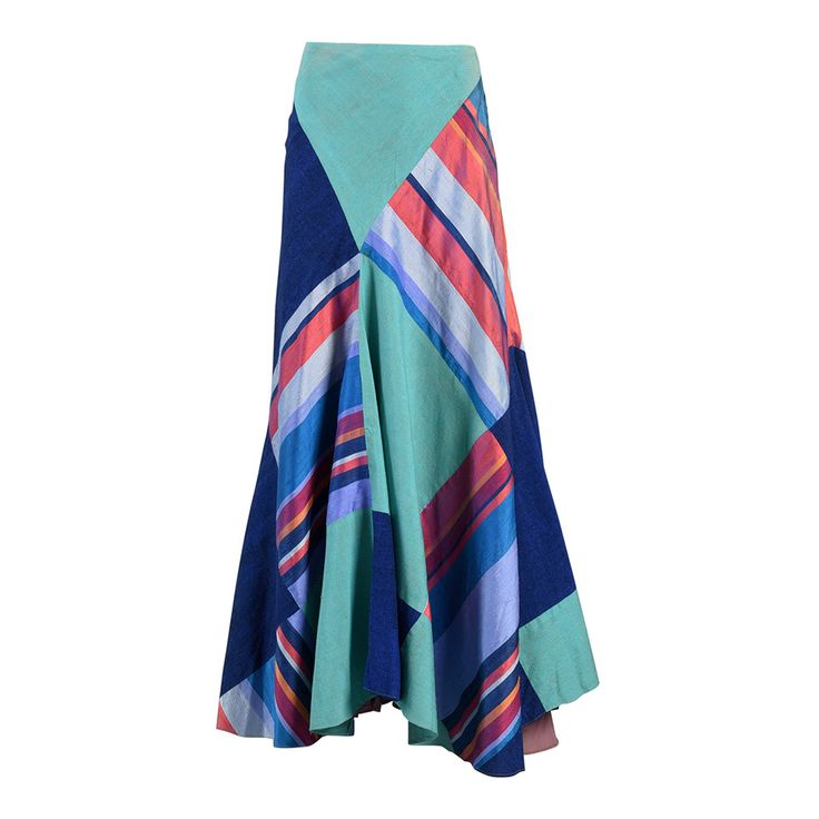 1970's Thea Porter Couture Patchwork Silk Skirt | From a collection of rare vintage skirts at https://www.1stdibs.com/fashion/clothing/skirts/