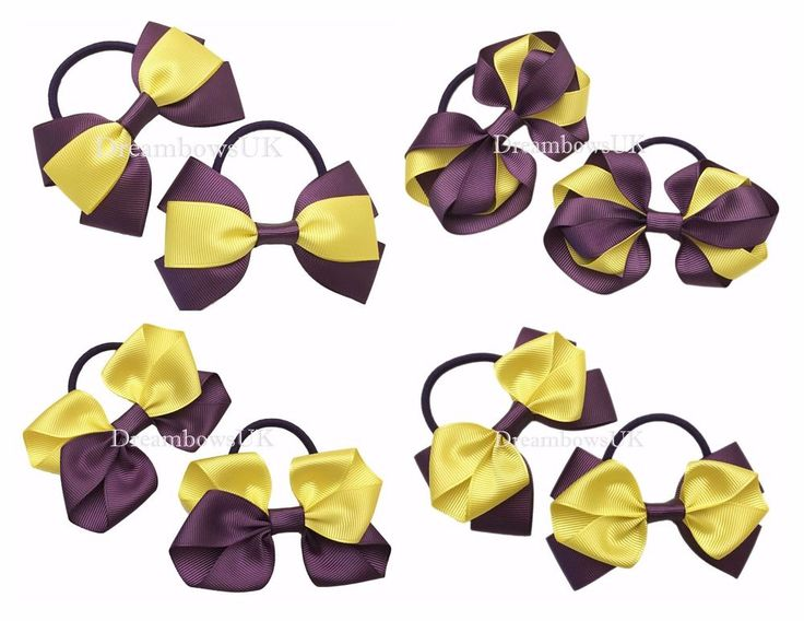 Purple and yellow grosgrain ribbon hair bows/accessory, thick hair bobbles/ties #DreambowsUK