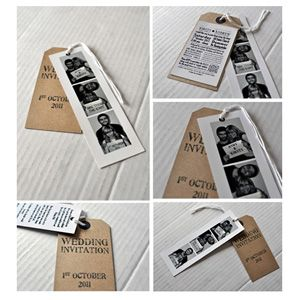 Photo booth wedding card with luggage tag. This could be fun!