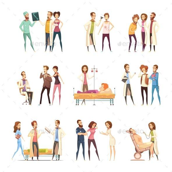 Nurse Cartoon Characters Decorative Icons