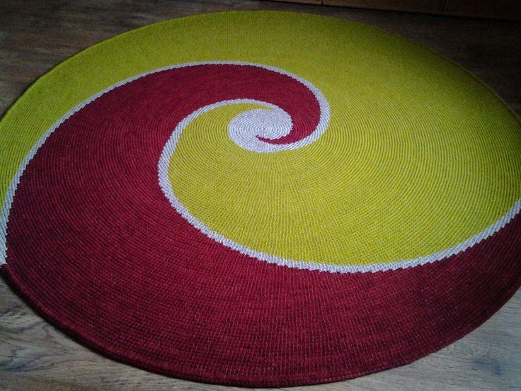 Large crochet round rug, RAINBOW, 80,7'' (205 cm)/Crochet Rug/Rugs/Rug/Area Rugs/Floor Rugs/Large Rugs/Handmade Rug/Carpet/Wool Rug by AnuszkaDesign on Etsy
