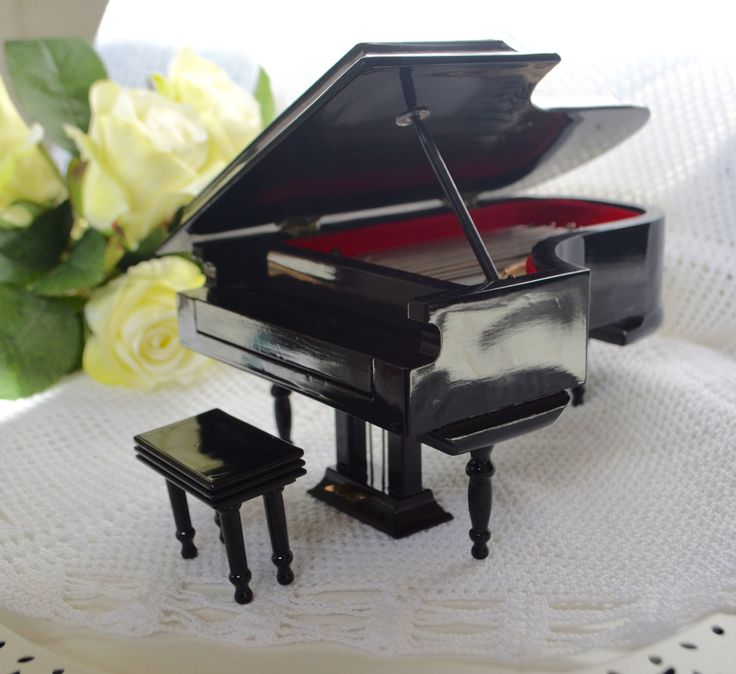 MINIATURE BABY GRAND Piano Black Baby Grand in Case Doll Furniture 1980's by StudioVintage on Etsy