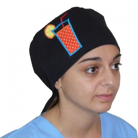 Handmade surgical scrub decorated by an applique cocktail glass design. This cute scrub cap is a great gift idea for a men's scrub.