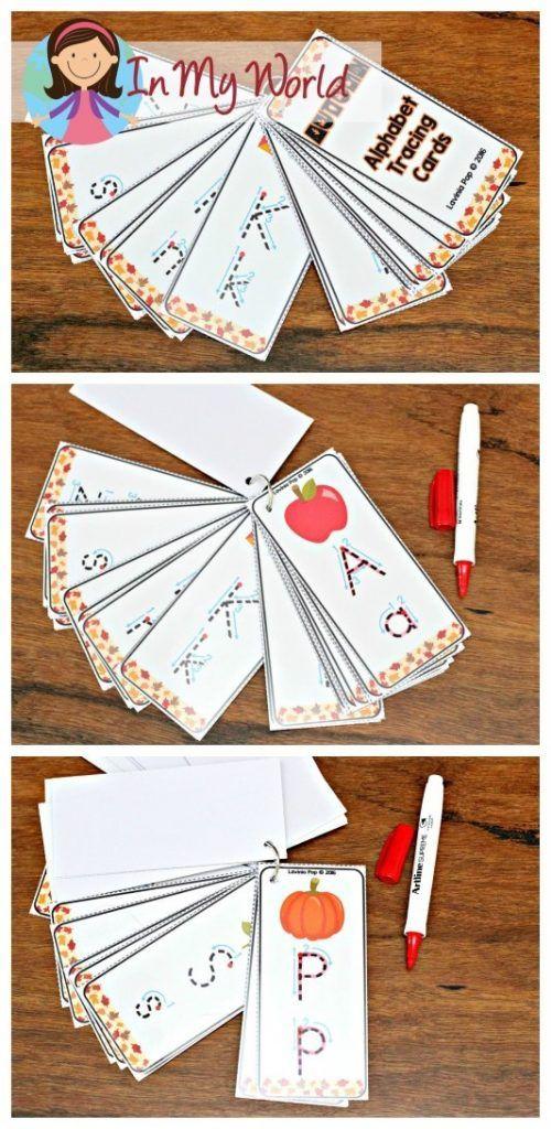 FREE Autumn / Fall Preschool Centers Alphabet tracing cards