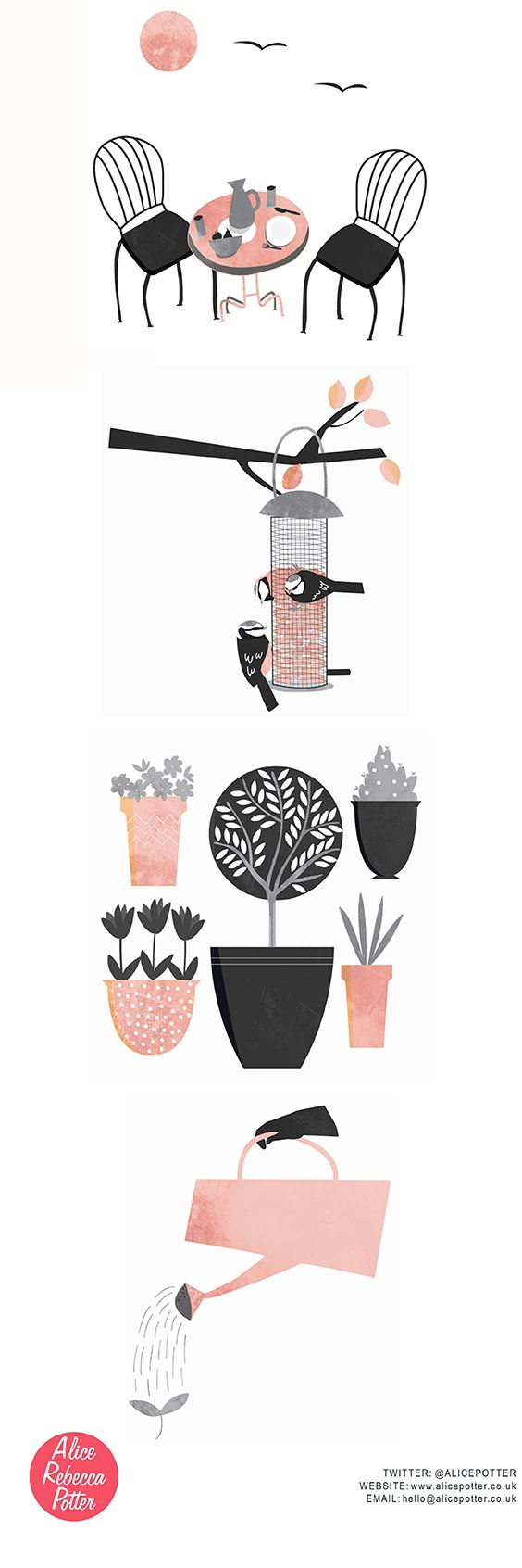Garden Illustrations and editorial spots / Alfresco dining / Bird Feeder / Potted Plants / Watering Plants / Illustrations by Alice Potter