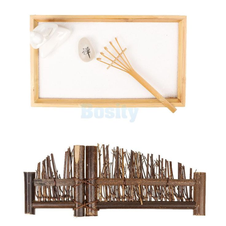 Table Desk Zen Garden Sand Lucky God Natural Stones Bamboo Rake Decor Set