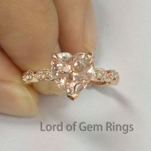 Heart Morganite Engagement Ring Pave Diamond Wedding 14K Rose Gold 8mm Art Deco - Lord of Gem Rings - 1