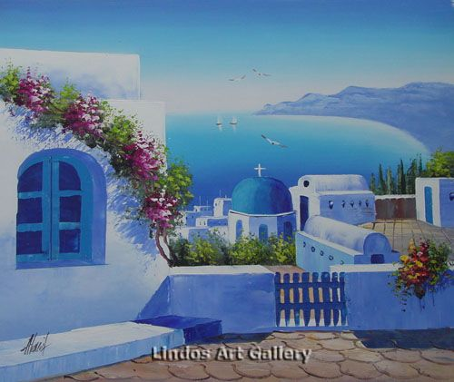 Santorini Church And Seaview Oil Painting