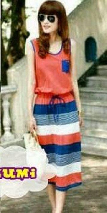 Long Dress Korea Tanpa Lengan Berbahan rajut halus