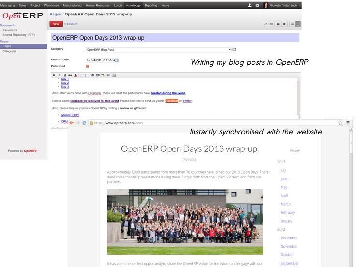 Publish blog posts directly from my OpenERP instance and it's immediately synchronised with the website