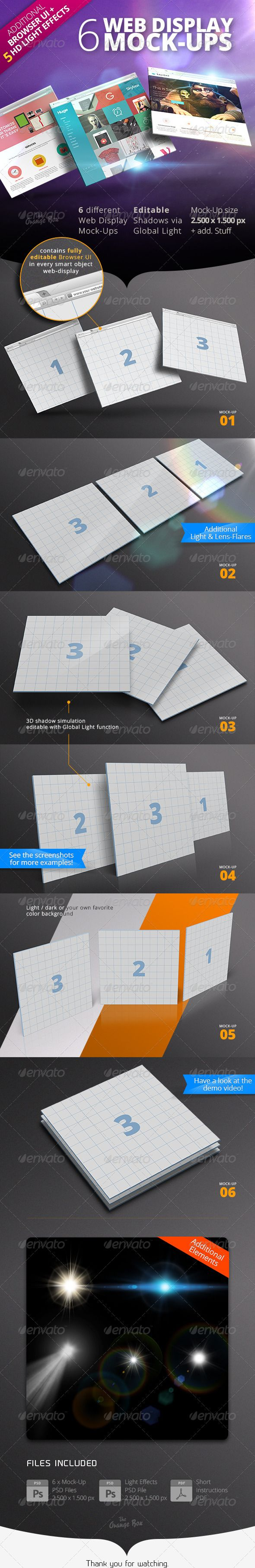 3D Web Display Mock-Up Set + Light Effects  #effects #frame #homepage • Available here → http://graphicriver.net/item/3d-web-display-mockup-set-light-effects/6914389?s_rank=67&ref=pxcr