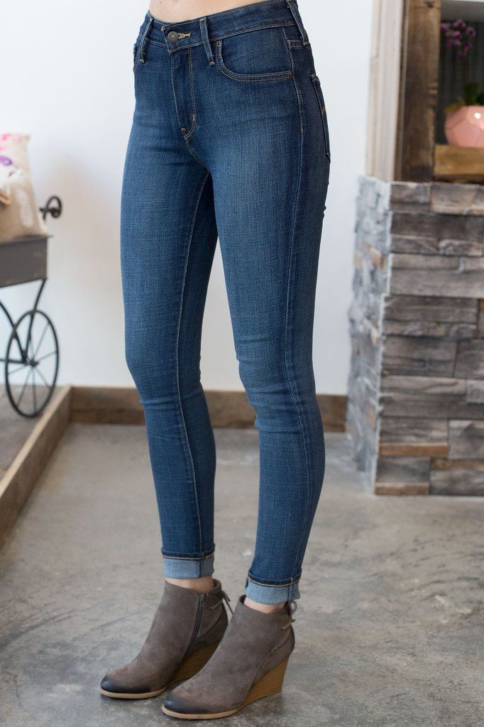 Levi s- 721 High Rise Skinny Blue Story- Shorts   My New Self ... 7cc22c217a