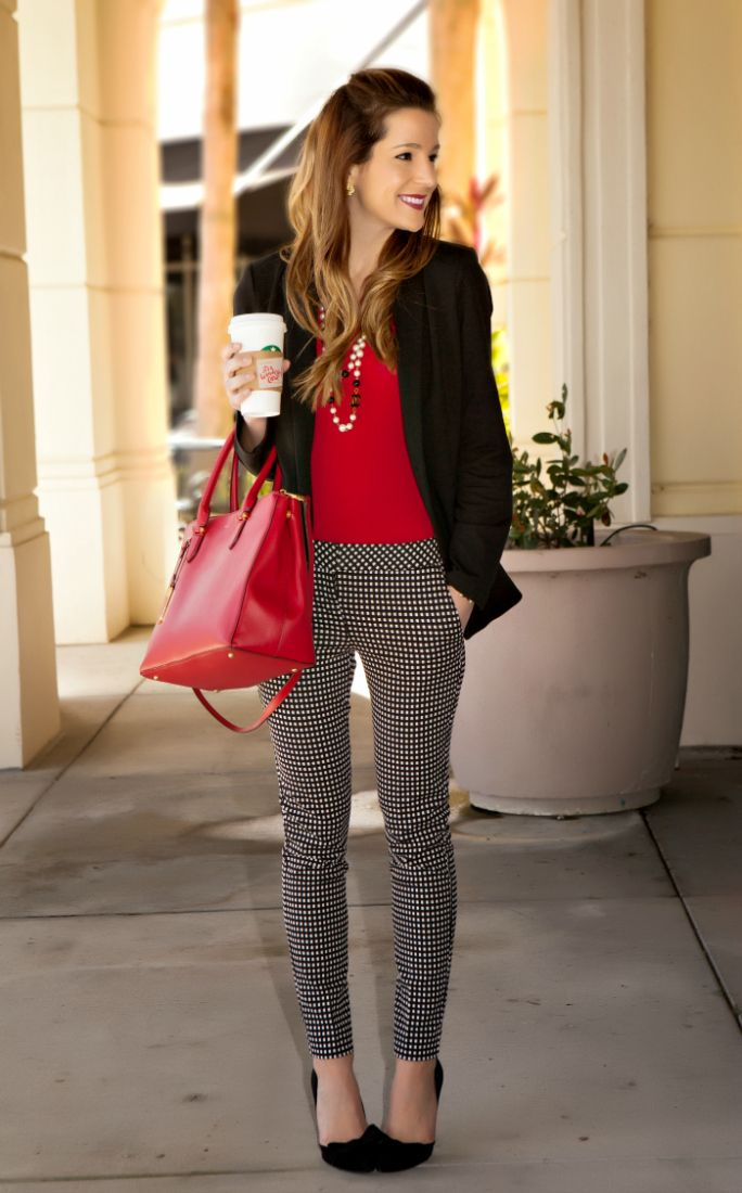I love basically everything about this look - the pants are interesting without being crazy, love the red, and layers are always good!