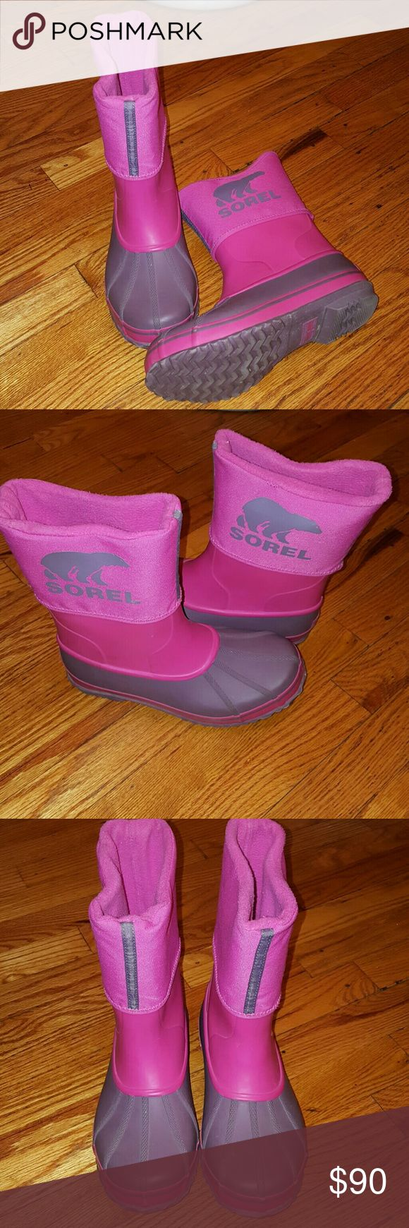 Sorel rainboots Very cute Sorel snow/rainboots fleece lined, cuffed with Sorel logo on side of each boots. Super comfy hardly worn. Sorel Shoes Rain & Snow Boots