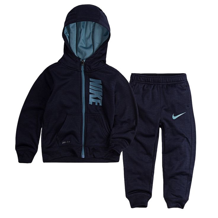 Toddler Boy Nike Therma-FIT Zip Hoodie & Pants Set, Size: 3T, Med Blue
