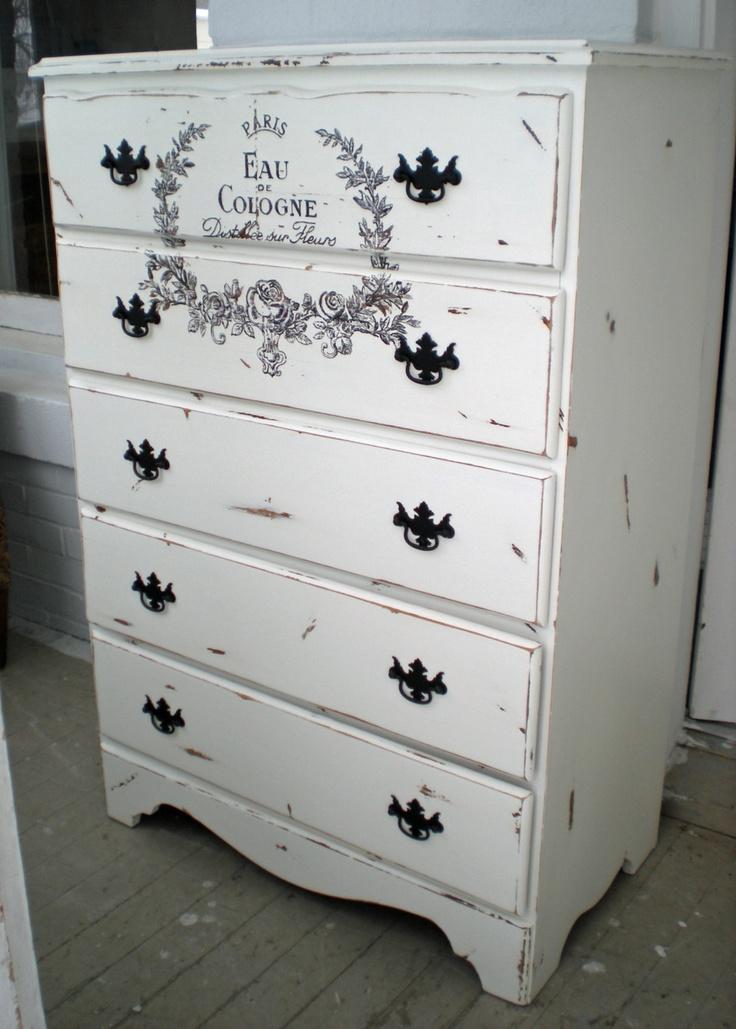 Dresser high boy chest shabby french script paris - Black chalk paint dresser ...