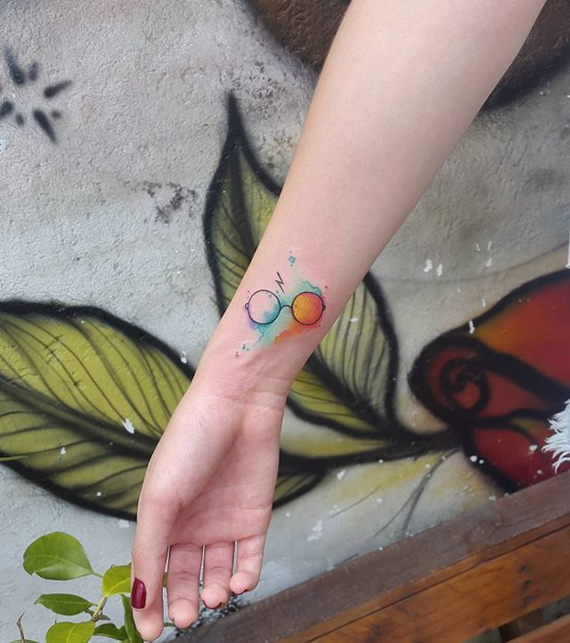 Pin for Later: Harry Potter Tattoos That Would Make J.K. Rowling Proud Watercolor Potter Glasses