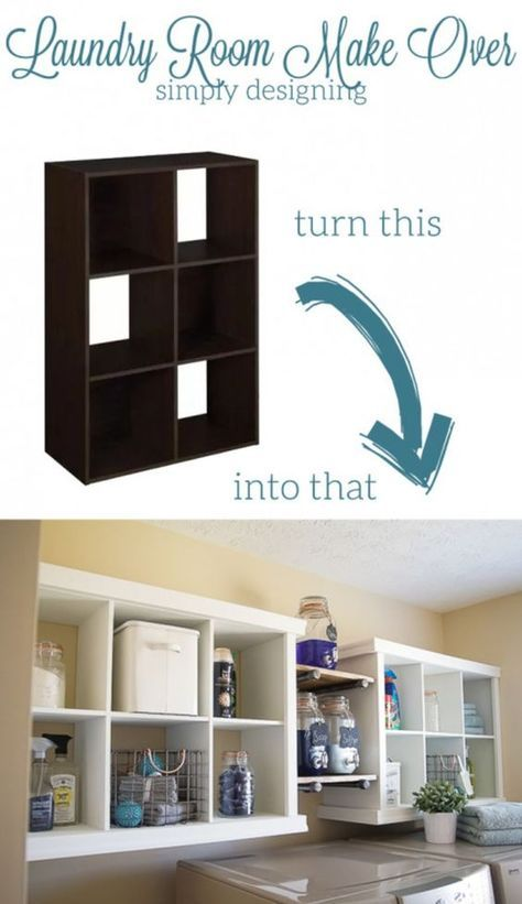 Use Boring Cube Cabinets To Make Useful Laundry Storage! Click HERE For The  Instructions