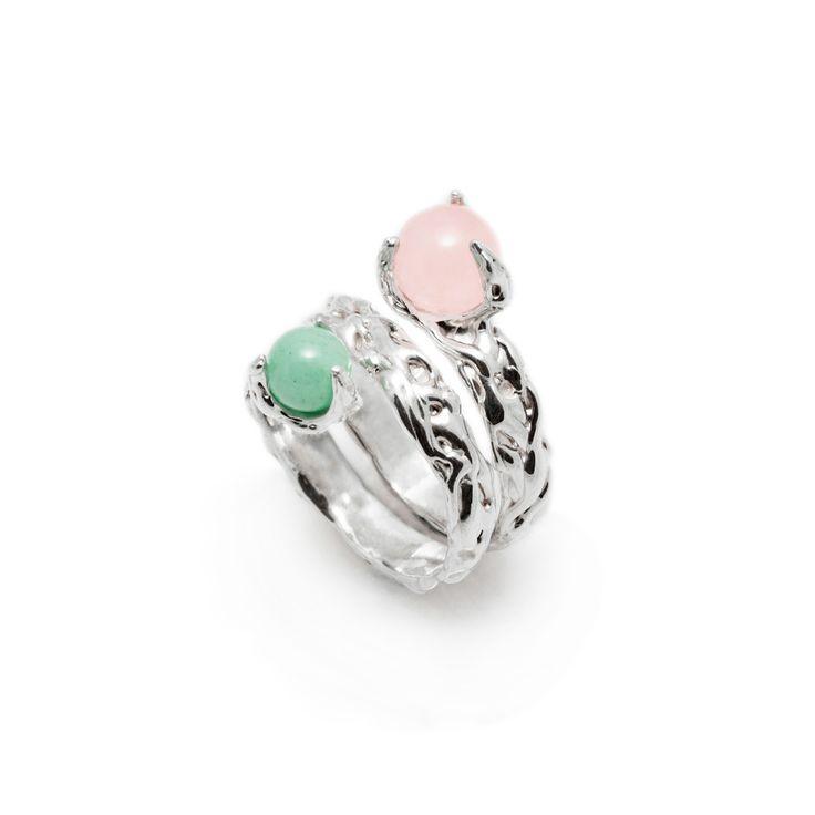 SPHERE RING CYCLONE WITH ROSE QUARTZ  AND AVENTURINE #pulse_jewellery  #sterling #silver #925 #jewellery #jewelry #ring #rings #fluid #liquid #sphere #gemstone #aventurine #rose #quartz