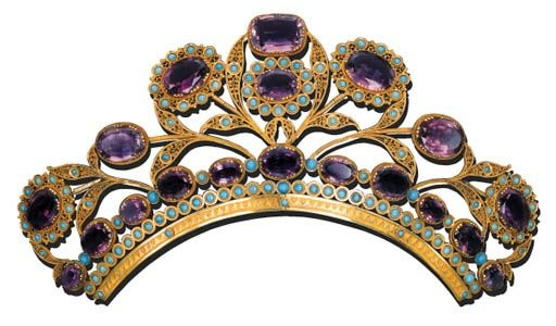 AMETHYST AND TURQUOISE HEAD ORNAMENT c. 1815. Designed as a series of amethyst and turquoise cluster flowerheads, with turquoise-studded filigree leaves