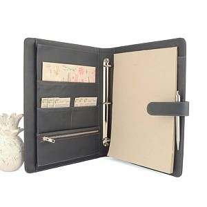 MAISON- A4 Leather Ring Binder Planner / Organizer- 3 or 4 Ring. Lots of pockets. Personalized & available in different colors.