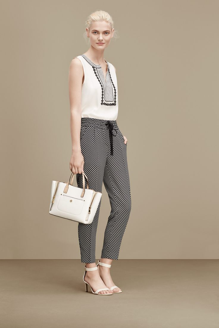 Summer work outfit inspiration: Ann Taylor's embroidered tank + checkered drawstring pants + white accessories.