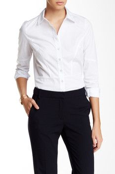 Laundry By Shelli Segal Seamed Poplin Button Front Shirt