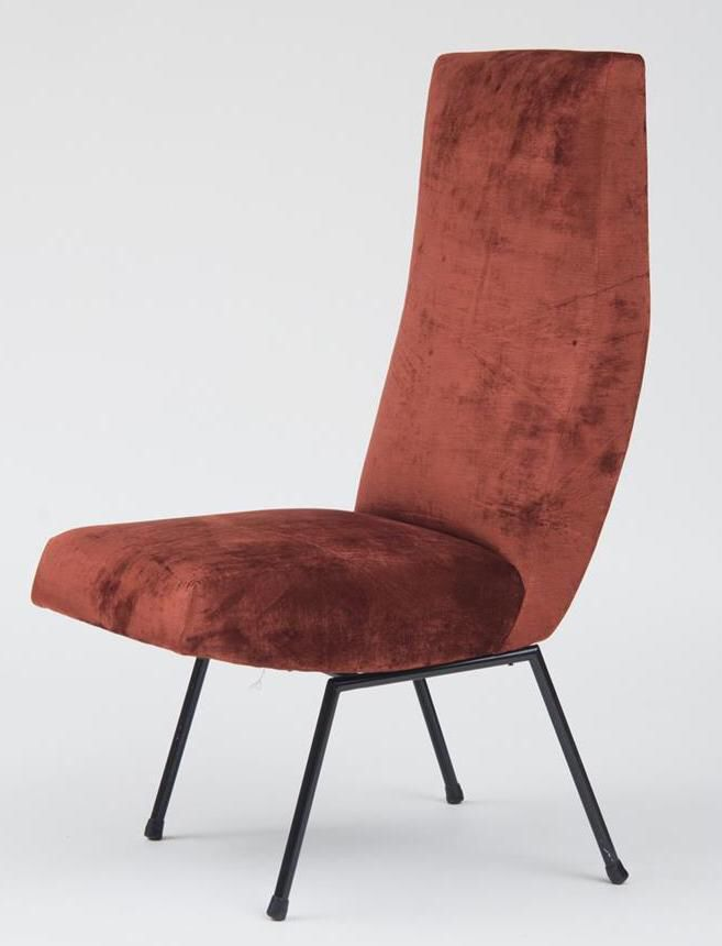 Pierre Guariche Style High Back Chair on Chairish.com