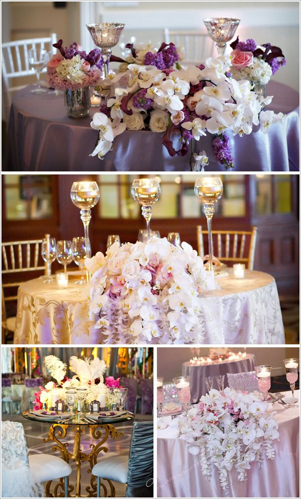 sweetheart tables - I like the dripping off the table flowers for the sweetheart
