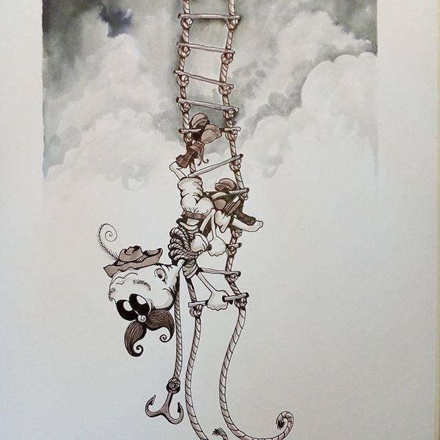 Inktober day 27 - Climb - #inktober #inktober2017 #inktoberday27 #inktoberprompts #ink #penandink #brushandink #brushpen #copic #bmitchleyart #koibrushpen #climb #character #comic #southafricanartist #southafrican #southafrica #artist #artistoninstagram #art #illustration #dailysketch #drawingink #moustache #climbing #ladder #climber #cartoon