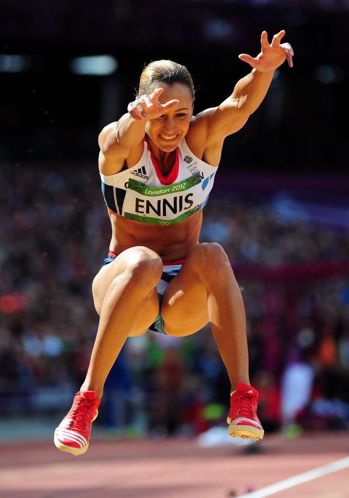 Gold medal winning heptathlete Jessica Ennis competing in the long jump in this summer's London Olympics