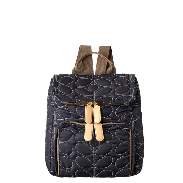 Orla Kiely: Stem Quilted nylon fabric backpack with leather trims and webbing for adjustable shoulder straps (max 80cm). Two way zip pocket on front, and two way zip for access into main body. Gold coloured hardware. Inside details include printed lining, small zip pocket, key chain and mobile pockets.