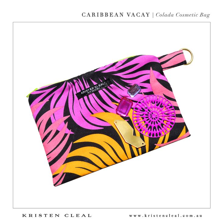 Colada Cosmetic Bag by Kristen Cleal Designs  Caribbean Vacay 2014 Collection