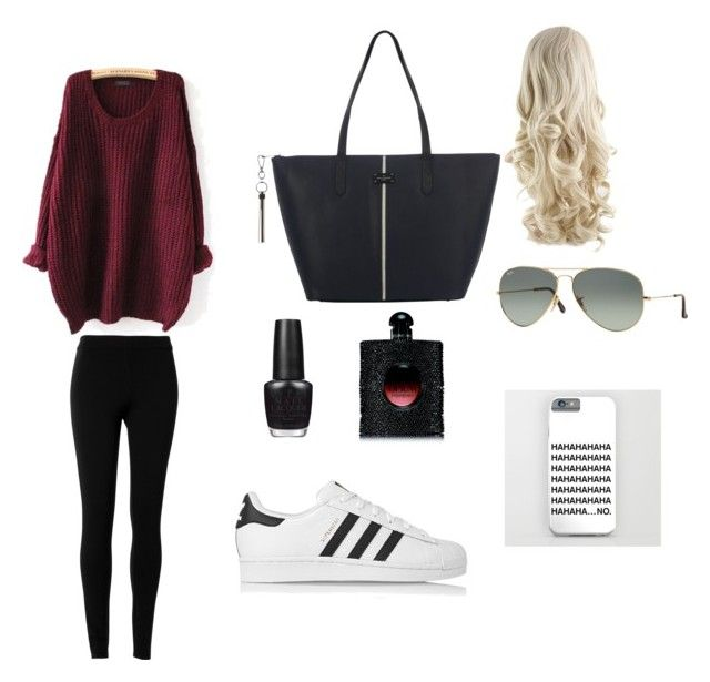 Casual style by kidoulini on Polyvore featuring polyvore, fashion, style, Max Studio, adidas Originals, Paul's Boutique, Ray-Ban, Yves Saint Laurent and OPI