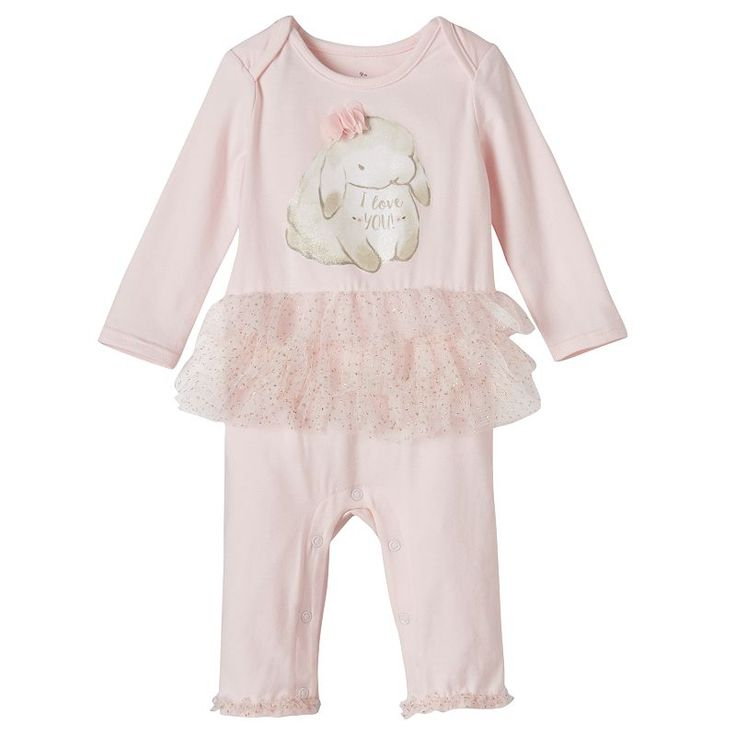 Baby Girl Baby Starters Bunny Tutu Coverall, Size: