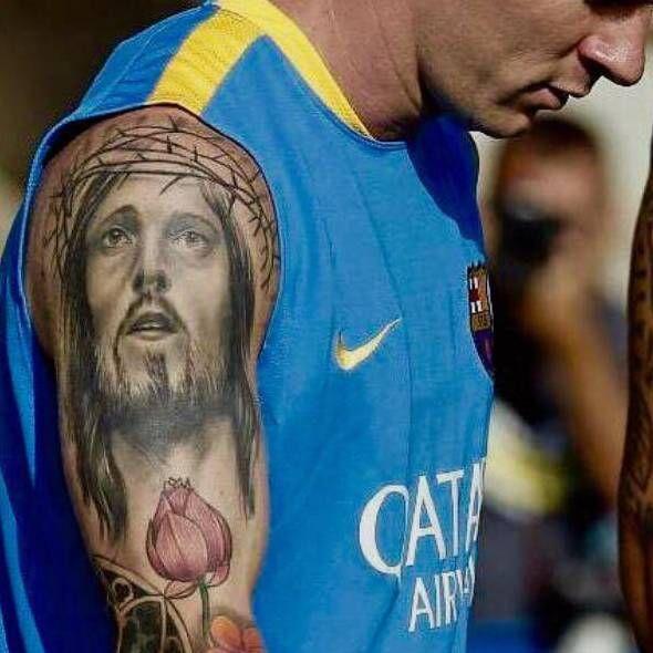 Messi - Jesus Face tattoo