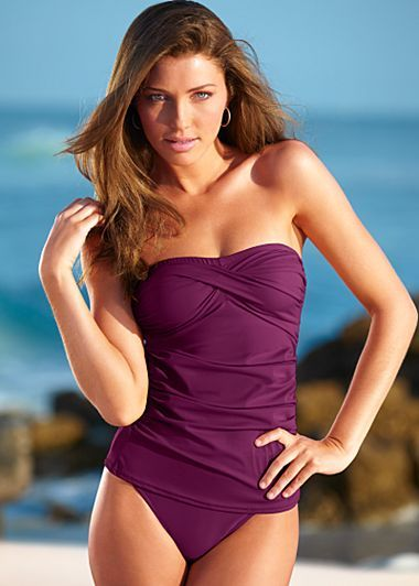 Really like! $49 color: Plum Gorgeous, size: 6? (comes with high-waist bottom but could order other bottoms for about 25.00) Twist bandeau tankini set