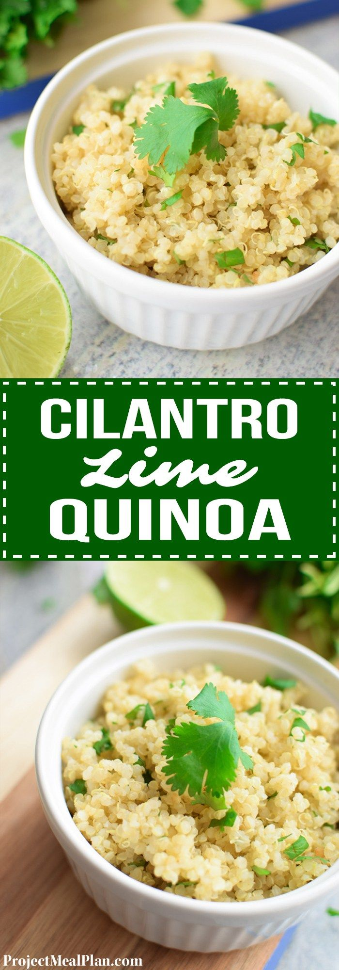 The Easiest Cilantro Lime Quinoa recipe - yummy and simple quinoa side dish made in a rice cooker! Perfect sub for rice in any dish. - ProjectMealPlan.com
