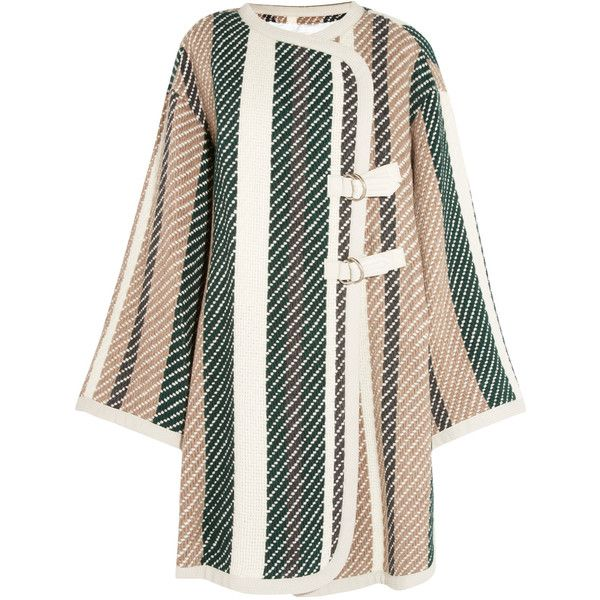 See by Chloé Leather-trimmed striped jacquard-knit coat ($855) ❤ liked on Polyvore featuring outerwear, coats, leather trim coat, white oversized coat, cape coat, oversized coat and see by chloe coat