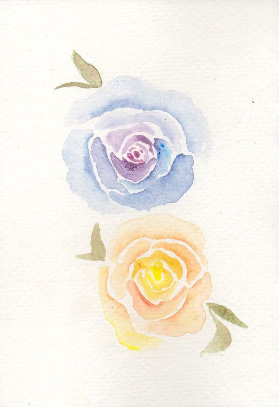 Purple and Orange Watercolor Flowers                                                                                                                                                      More