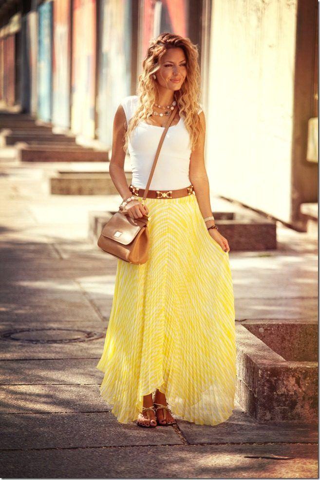 Yellow Pleats  #Pleated #Skirts #Belts #Shoulder
