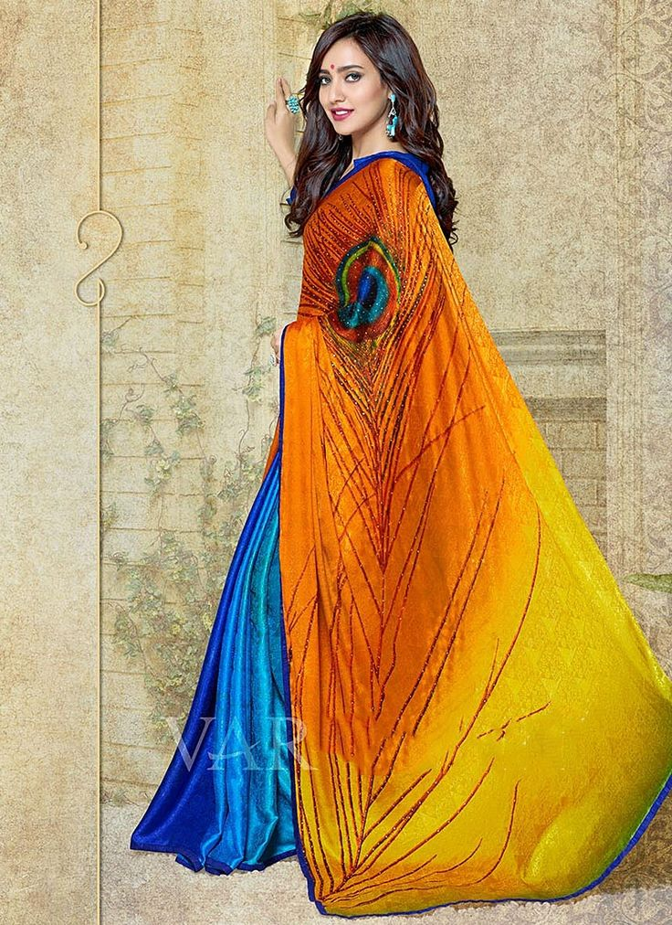 Neha Sharma Multi Colors Georgette Saree