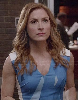 Maura's blue abstract printed dress on Rizzoli and Isles.  Outfit Details: http://wornontv.net/35638/ #RizzoliandIsles