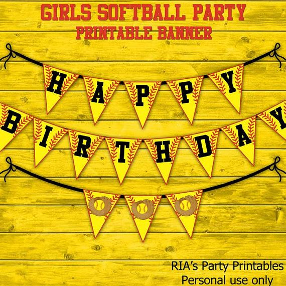 Girls Softball Party Printable Banner by RIAsPartyPrintables, $8.00