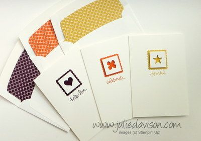 Clean & Simple Stampin' Up! Giggle Greetings Notecards with Itty Bitty Accents Punch Pack & 2014-2016 In Colors #stampinup www.juliedavison.com