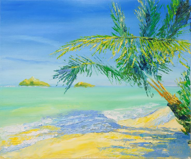 Hawaii Beach Palm Tree Oil Painting Art For Sale Tropical Home Decor Ocean Poipu