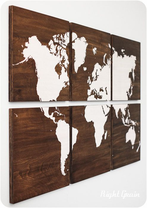 World Map Large Artwork Painting on Stained Wood Panels - Customizable Gift