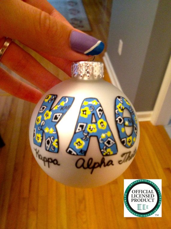 Hand painted Kappa Alpha Theta ornament by Kreations4UbyKT on Etsy, $21.95
