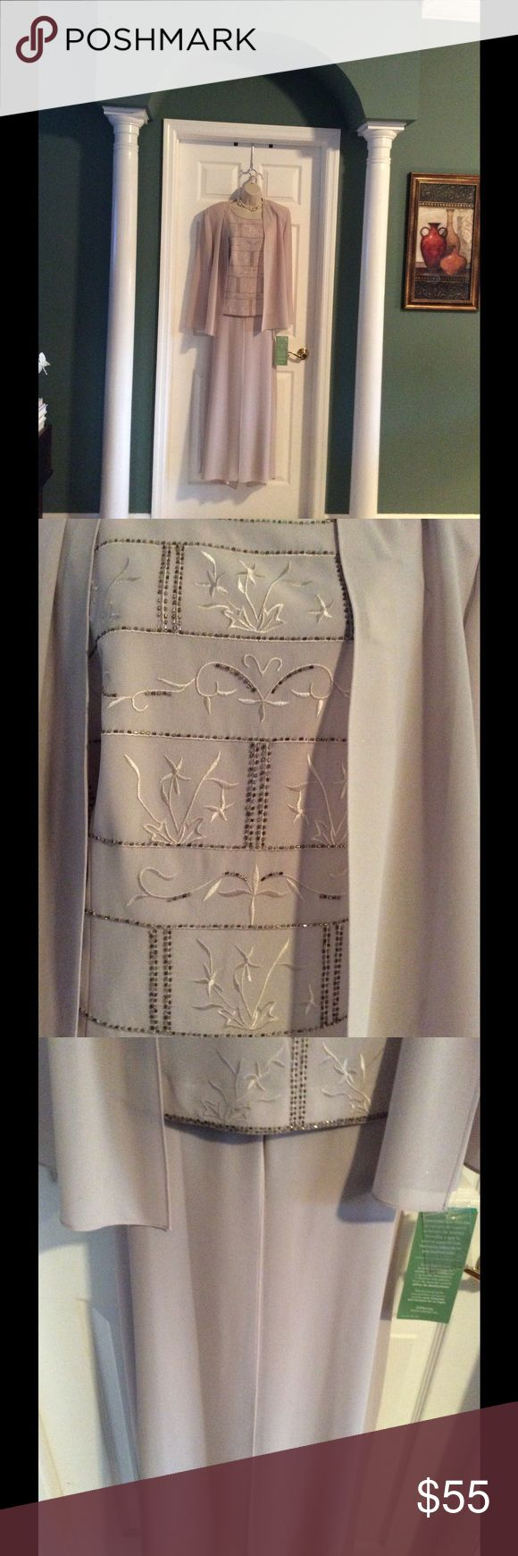 💋FORMAL 3 PIECE SUIT💋 3 Piece suit includes embroidered and beaded tank, jacket, and pants. Beautifully made the embroidery is exquisite with just the right amount of beading. Would be a lovely Mother of the Bride outfit or for any dressy occasion. Beautiful soft taupe color. R M Richards Dresses